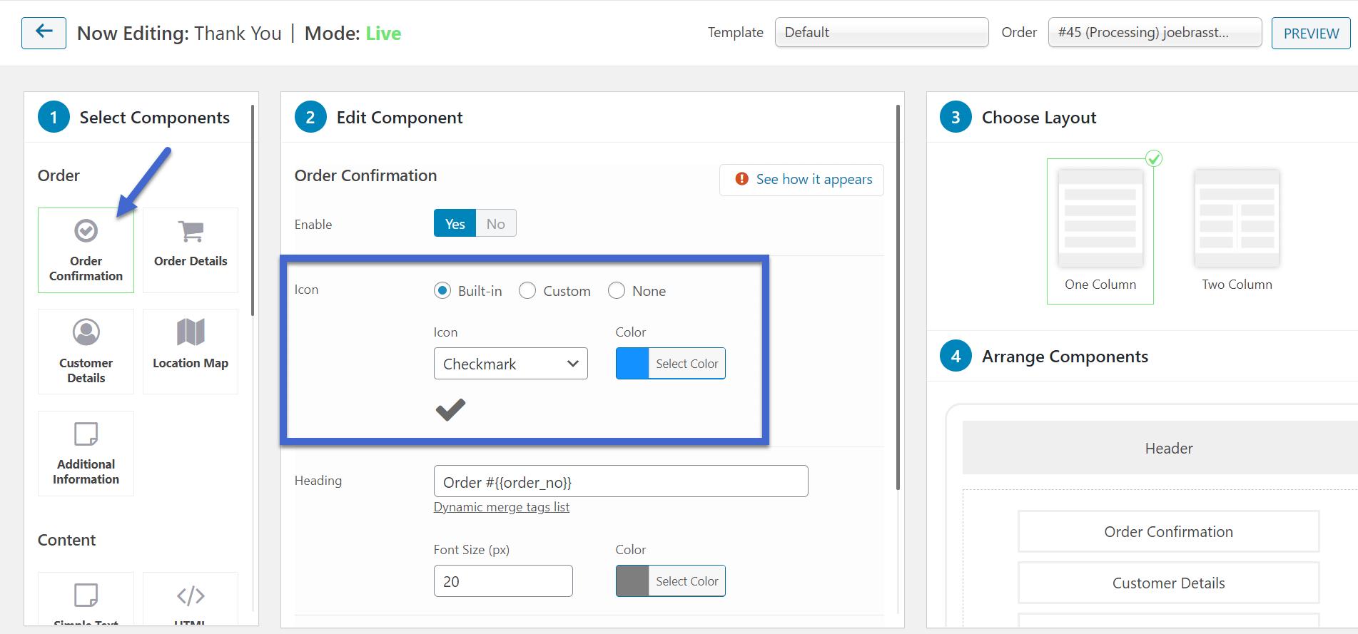 confirmação do pedido para a página de agradecimento do WooCommerce