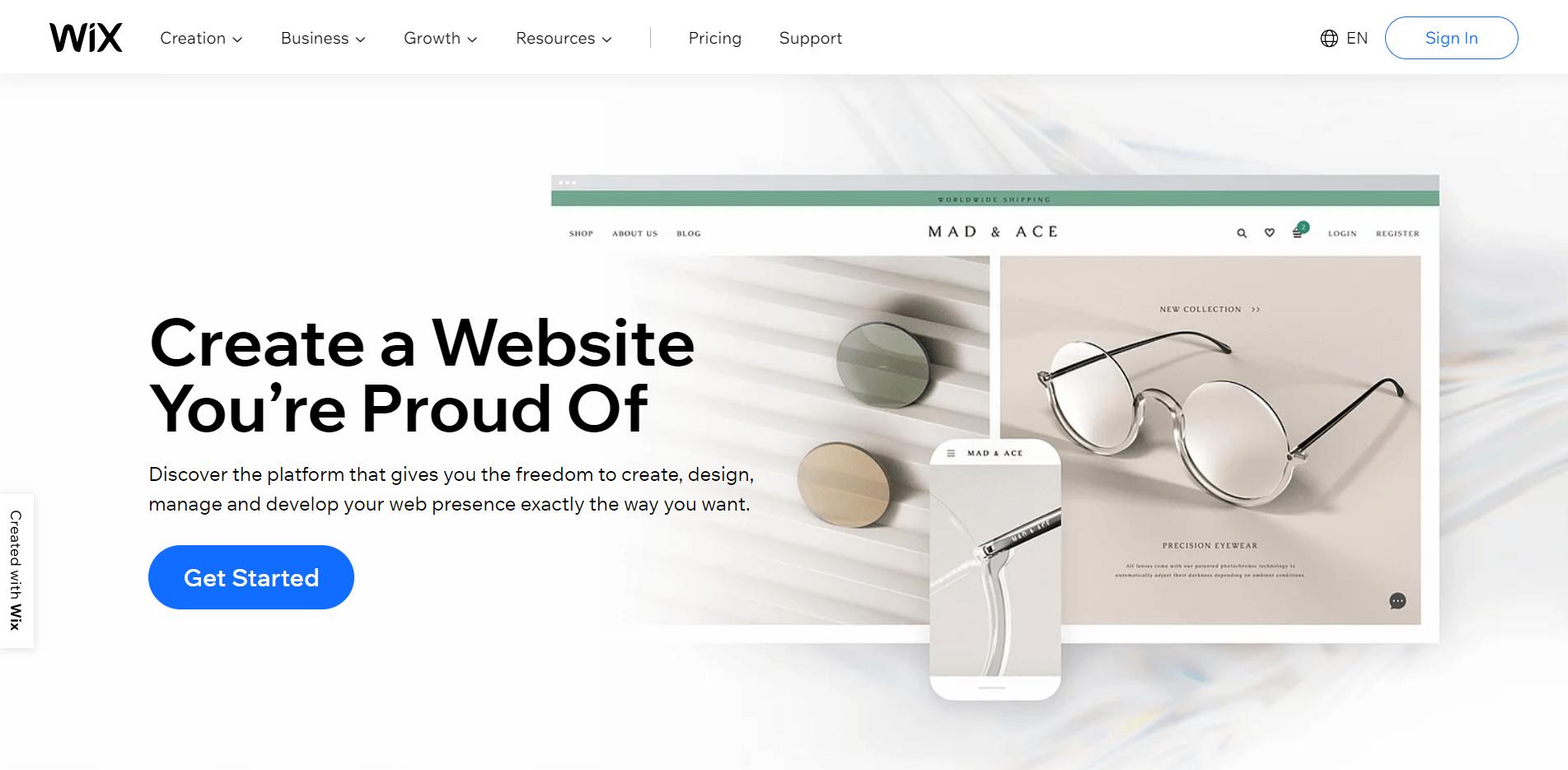 La página de inicio de Wix.