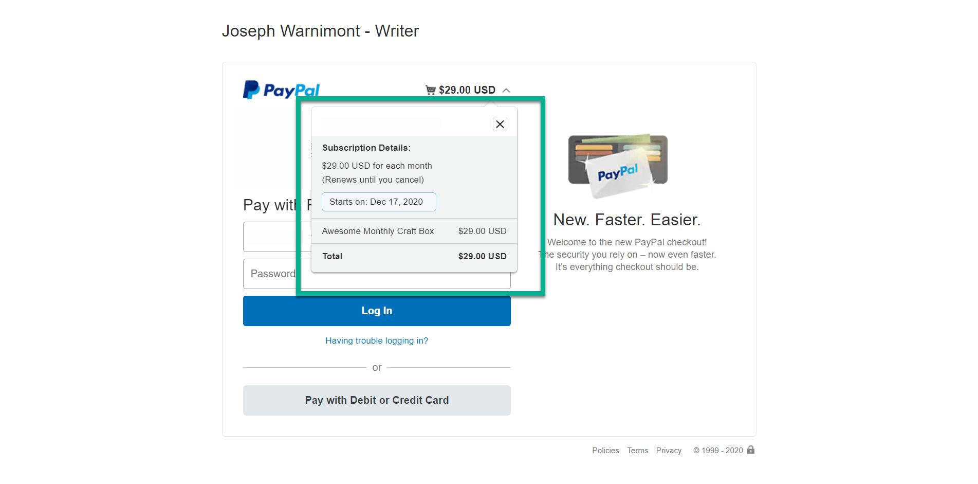 a página do paypal