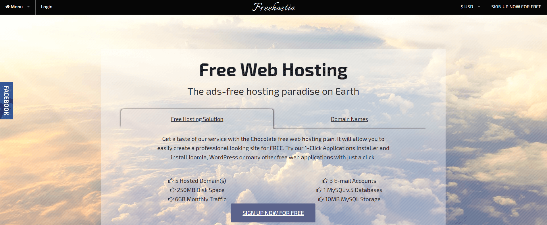 Free web hosting from Freehostia