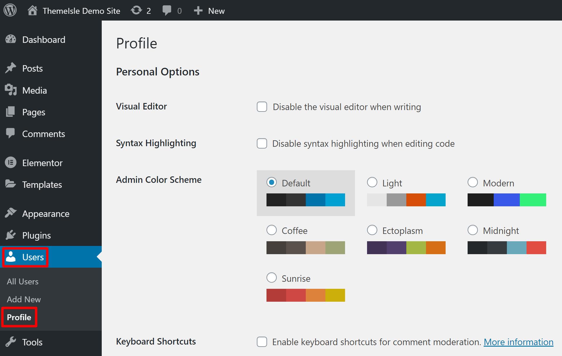 Open WordPress profile