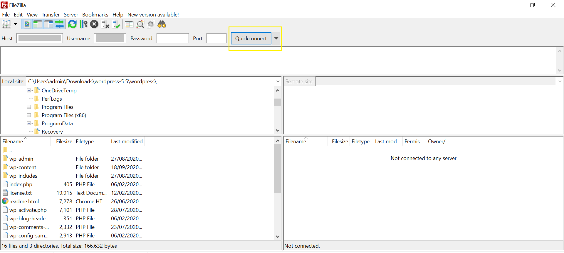 Connecting to a server via FTP with FileZilla.