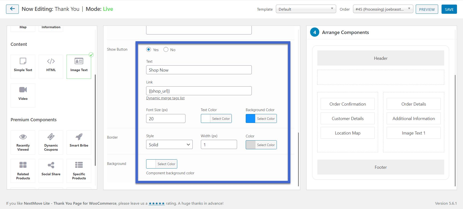 o botão - página de agradecimento do WooCommerce