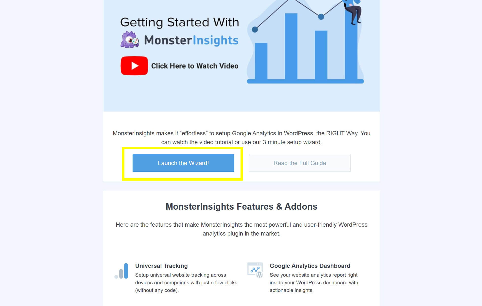 The MonsterInsights welcome page.