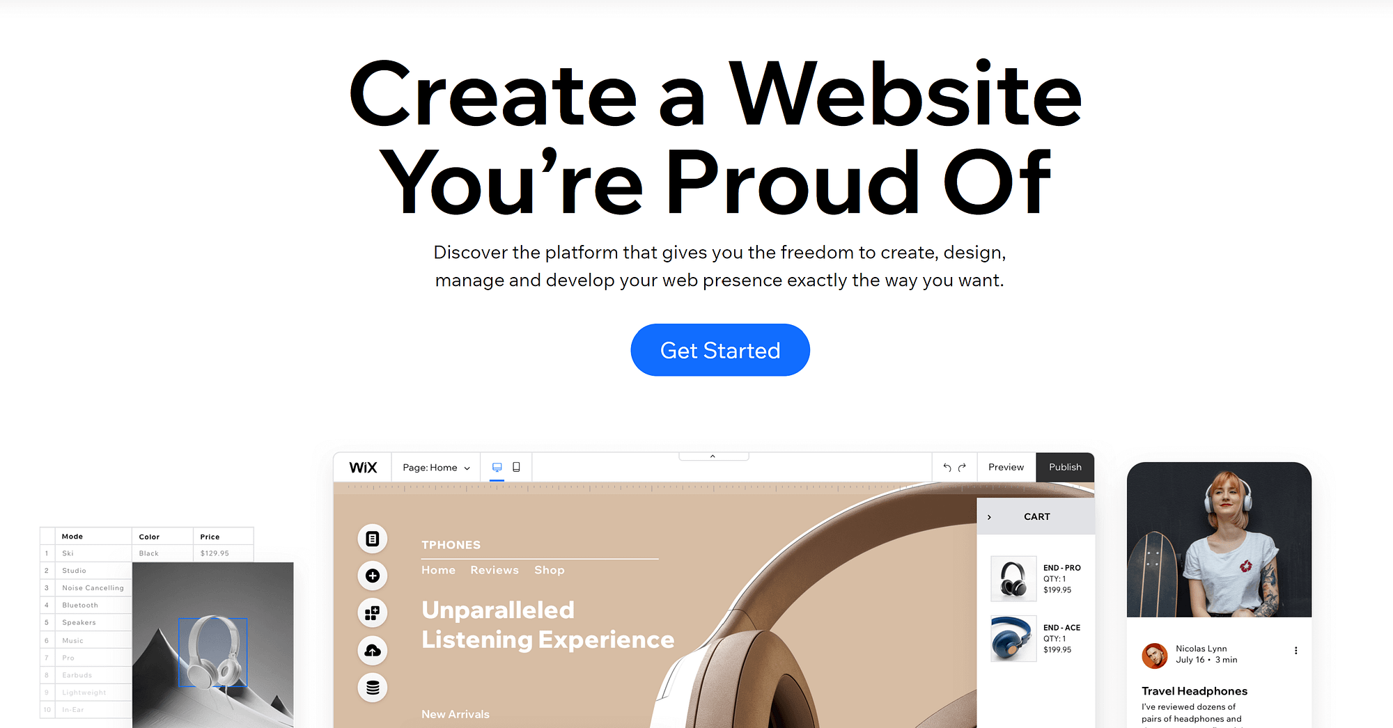The homepage for one of the best website builders for artists, Wix.