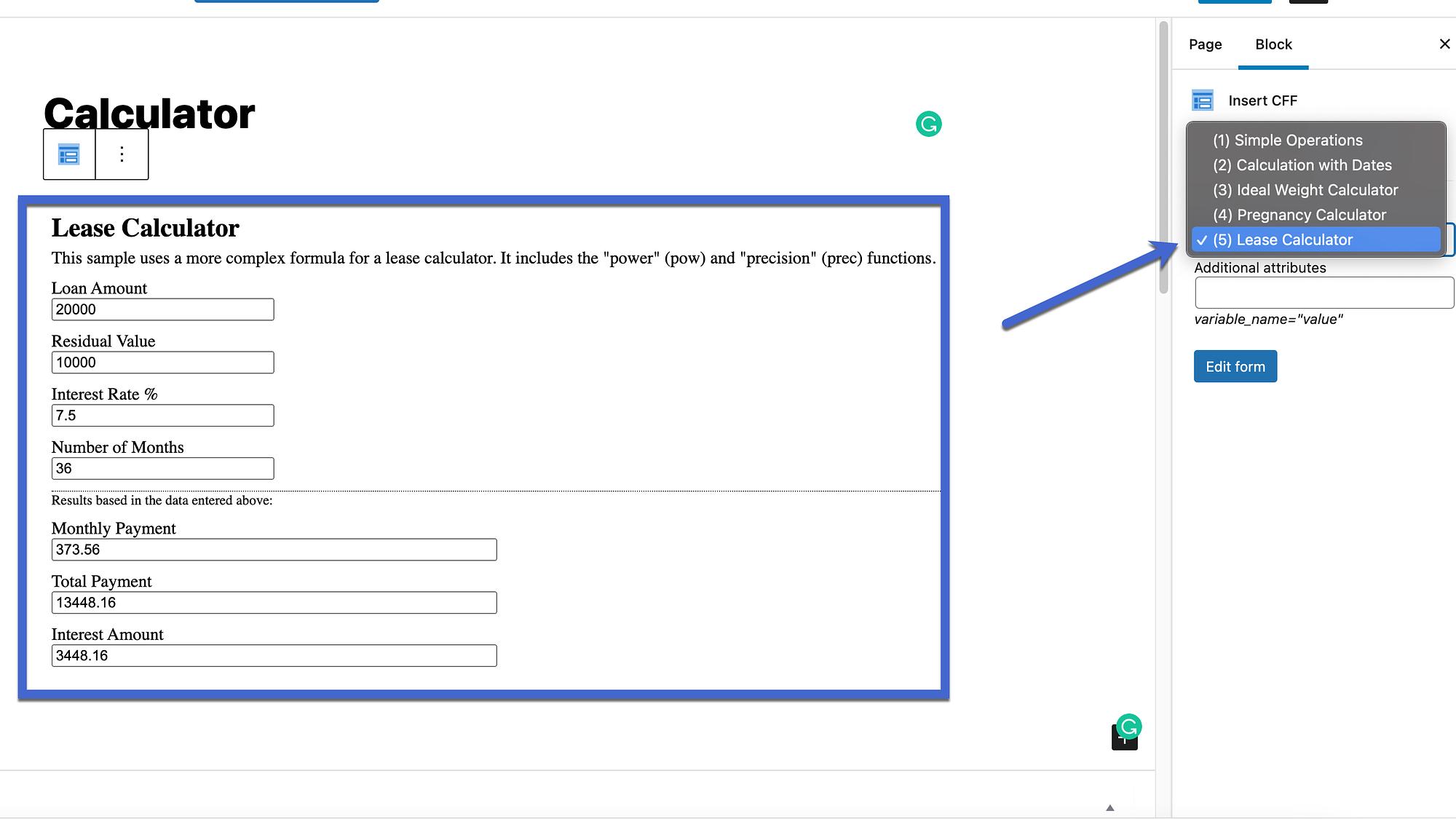 ماشین حساب اجاره را انتخاب کنید