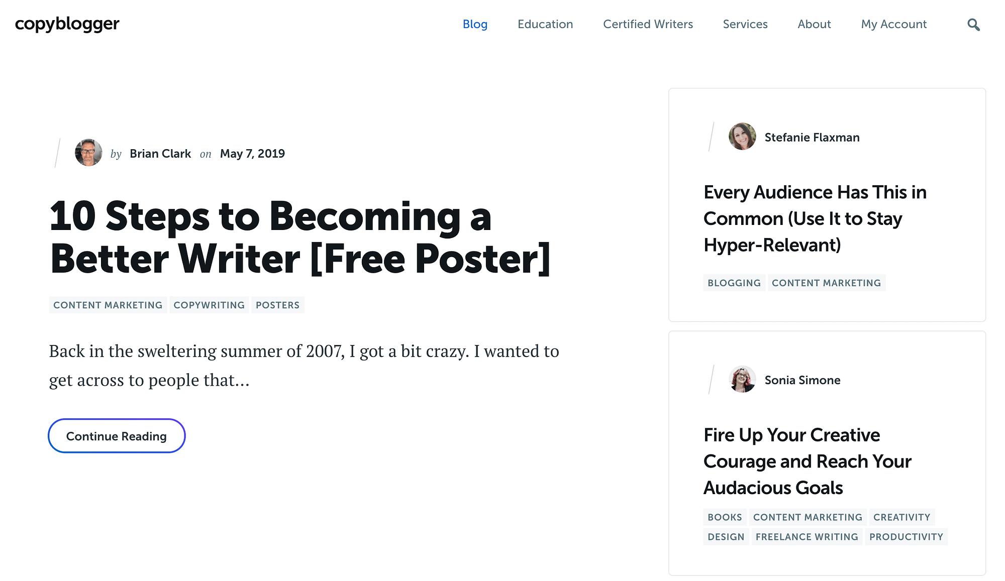 El blog Copyblogger.