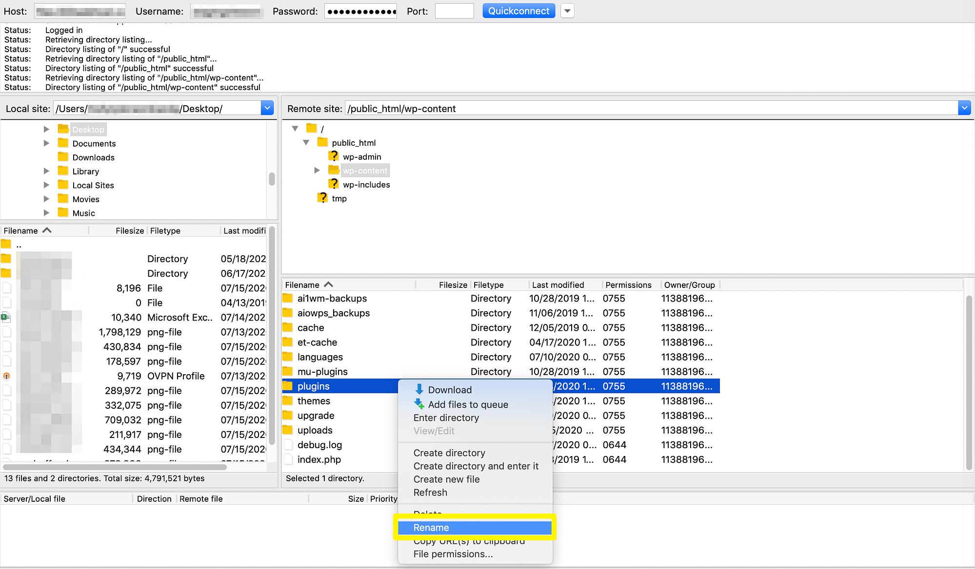 Renaming the plugin directory via FTP.