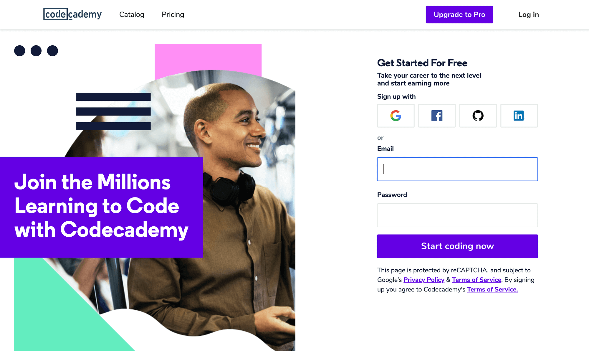 La página de inicio de Codecademy.