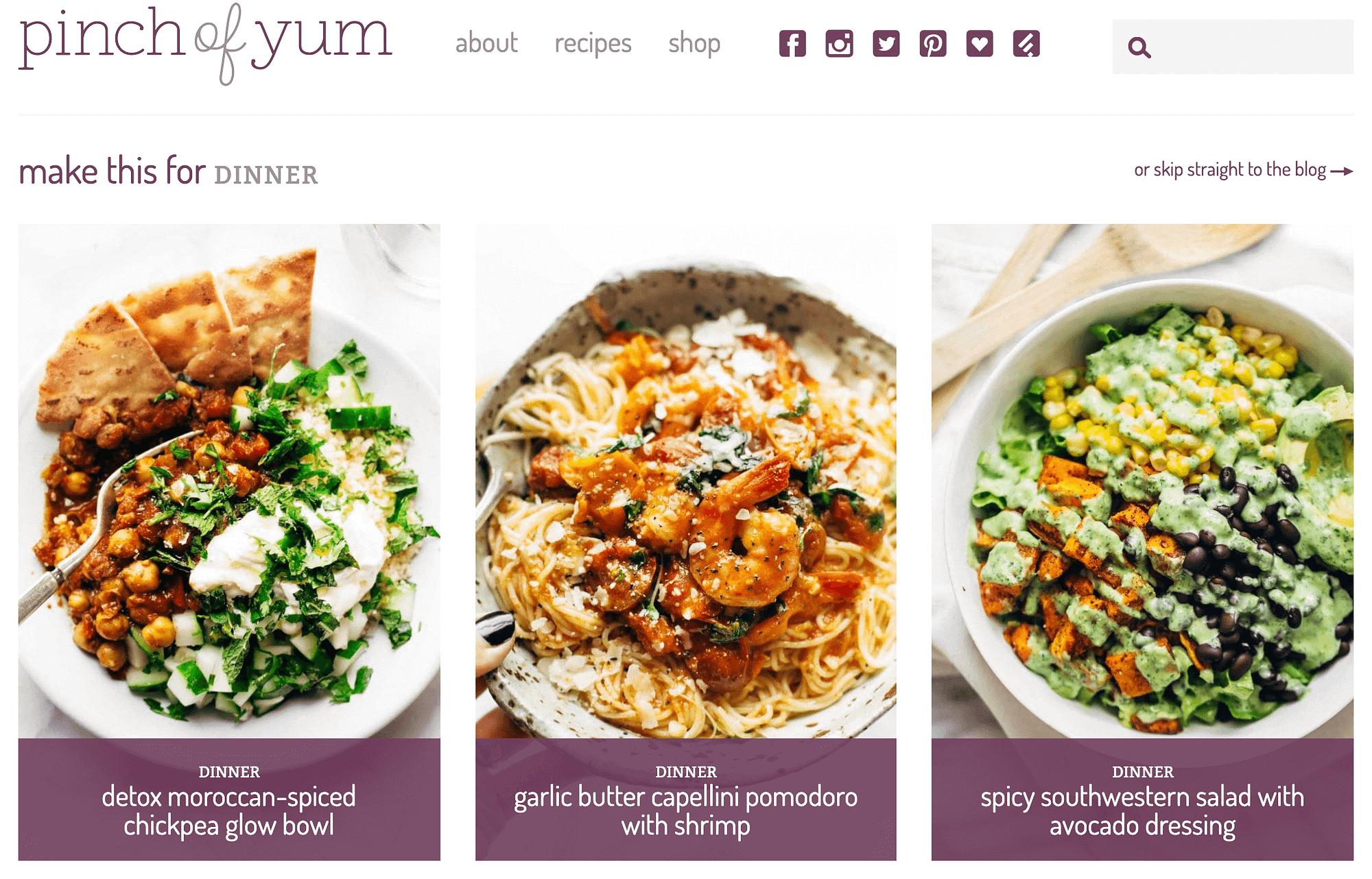 Blog de comida The Pinch of Yum.