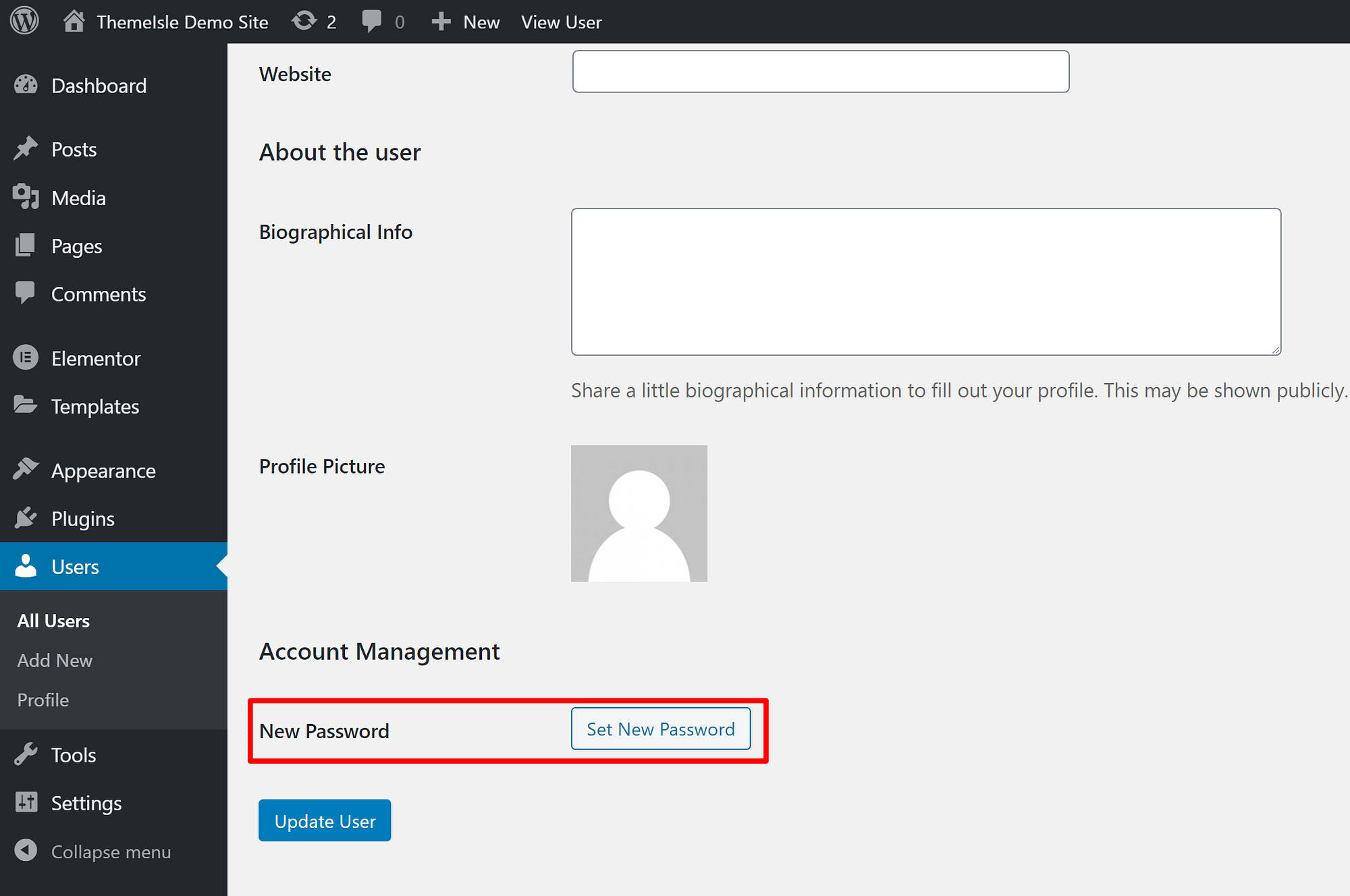 How to change another WordPress user's password