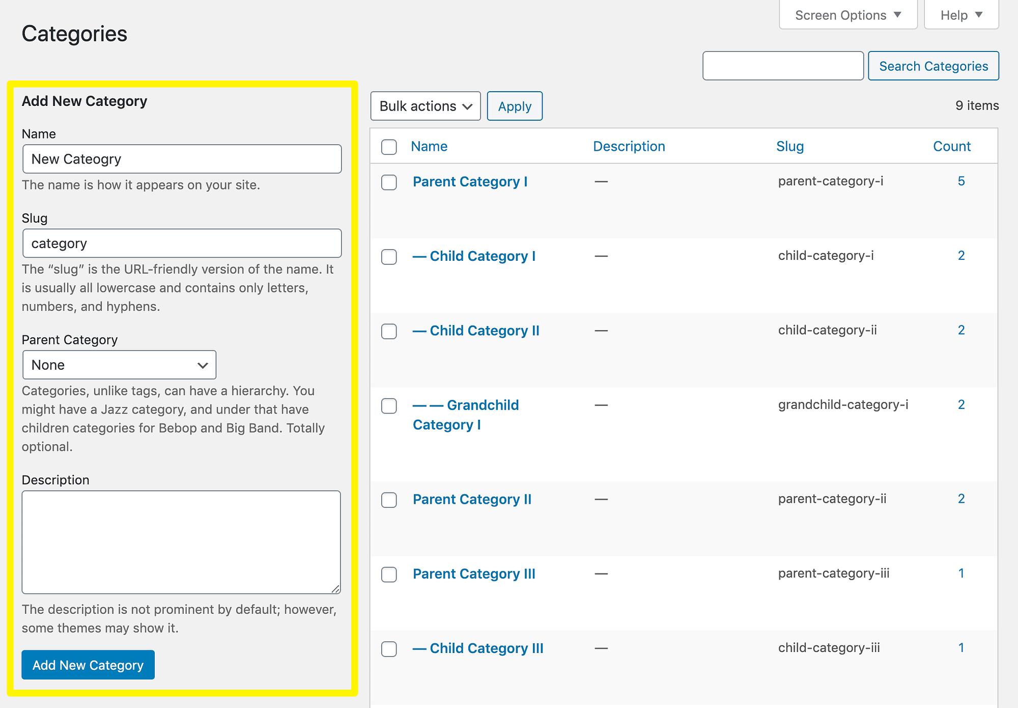 Creando una nueva categoría en WordPress.