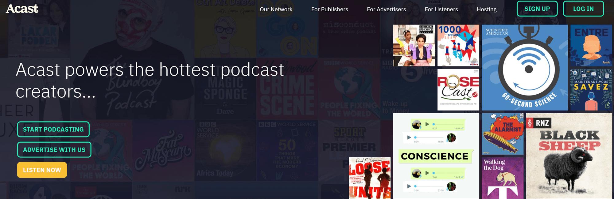 Melhor hospedagem gratuita de podcast: Acast