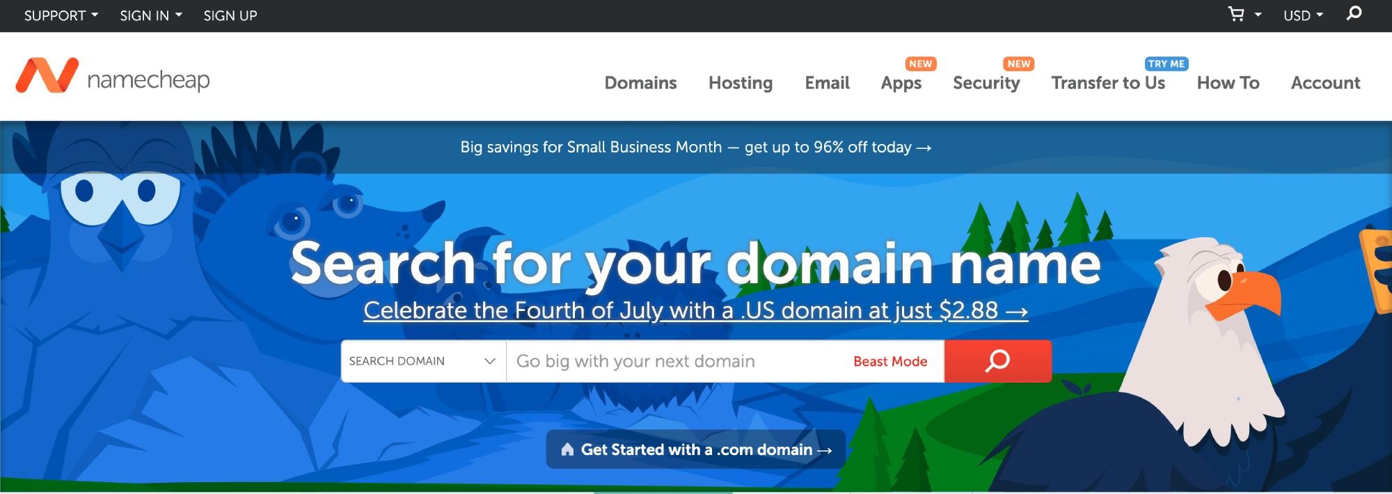 The Namecheap website.