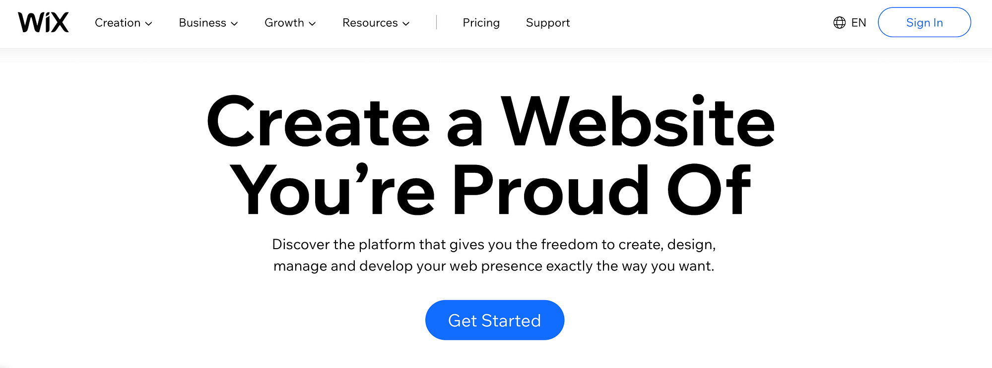 The front page of Wix, a popular option for how to create a website free of cost.