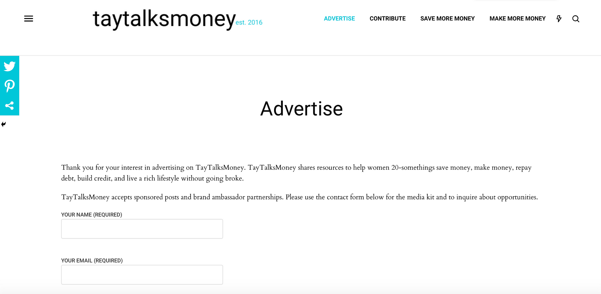 An example of a Sponsor page