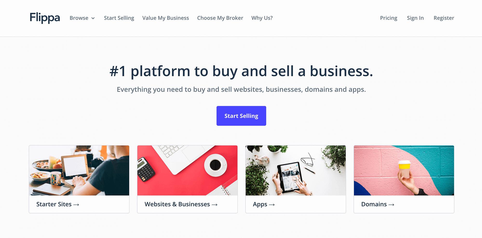 La página de inicio de Flippa.