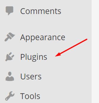 WordPress plugins menu