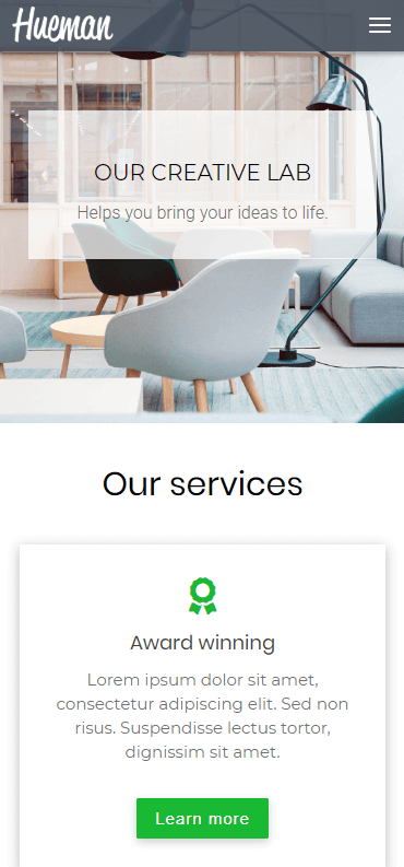 A mobile website built using Hueman.