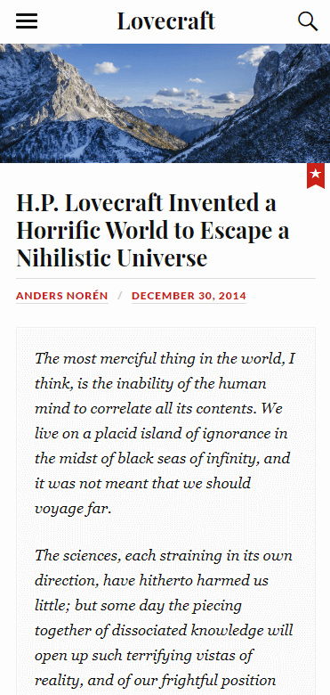 A mobile website built using Lovecraft.