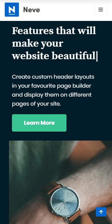 A mobile website built using Neve.
