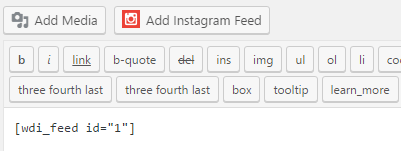 The new Add Instagram Feed option on the WordPress editor.