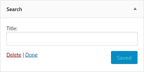 The Search widget in WordPress.