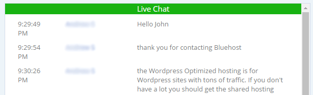 A screenshot of one of our conversations with a Bluehost specialist.