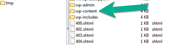 the wp-content folder contains the WordPress error log file