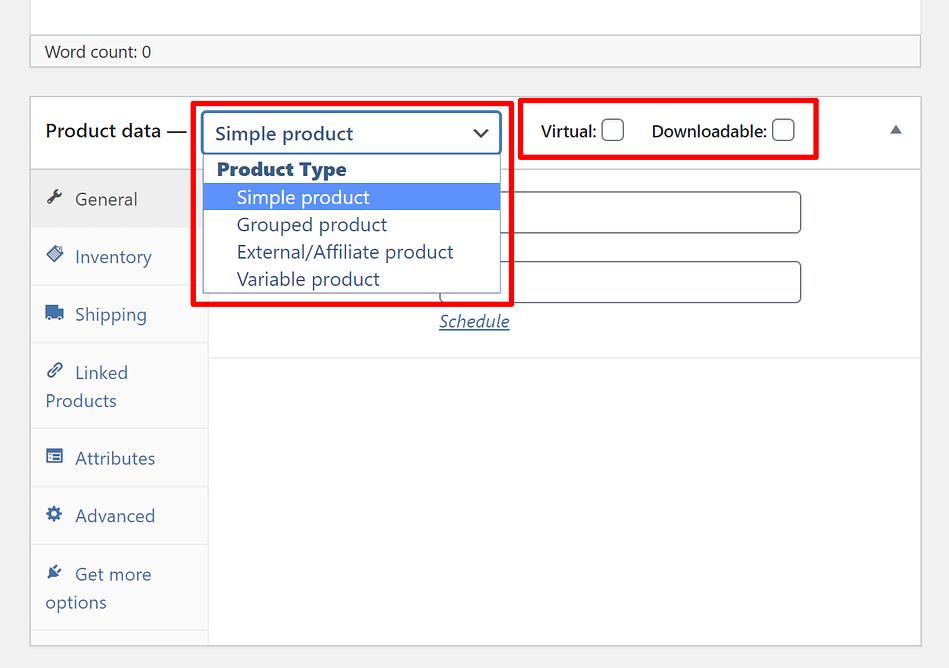 Choose WooCommerce product type