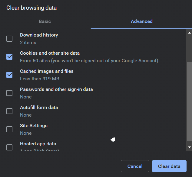 clearing chrome cache