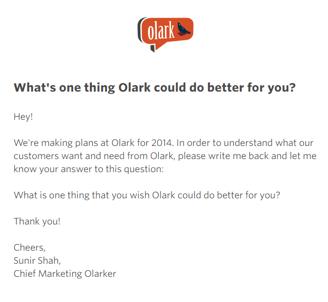 Un correo electrónico de comentarios de Olark
