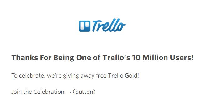 Un ejemplo de correo electrónico de agradecimiento promocional de Trello
