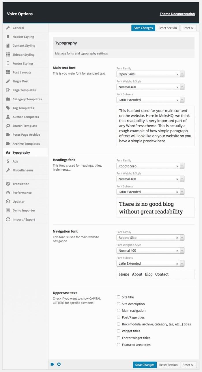 configuración de tipografía del blog de wordpress