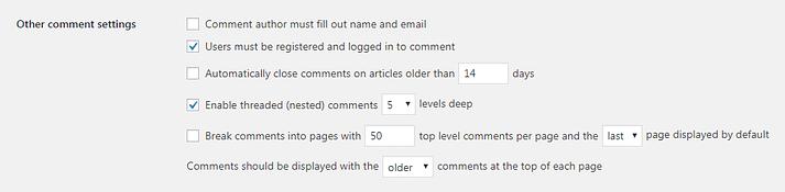 WordPress'teki Diğer Yorum Ayarları bölümü.