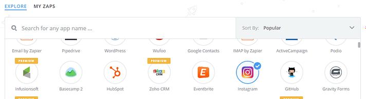 انتخاب اینستاگرام از مجموعه برنامه های Zapier