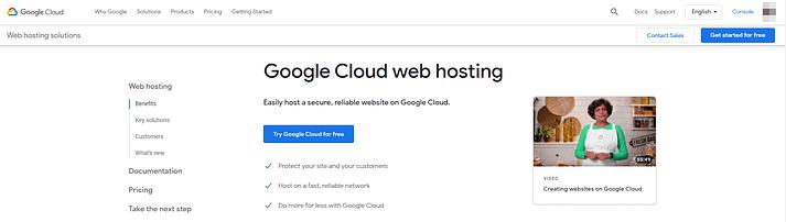 Google Cloud web hosting.