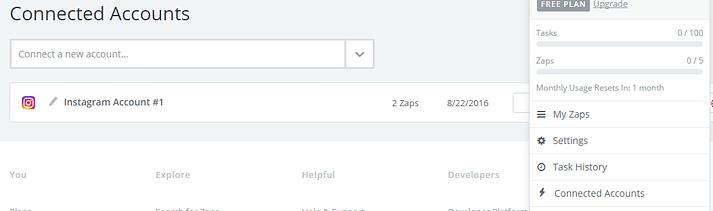 عکس صفحه ای از صفحه حسابهای متصل Zapier
