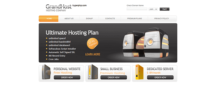 HyperPHP free web hosting service