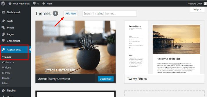 Adding a new WordPress theme to a free WordPress blog