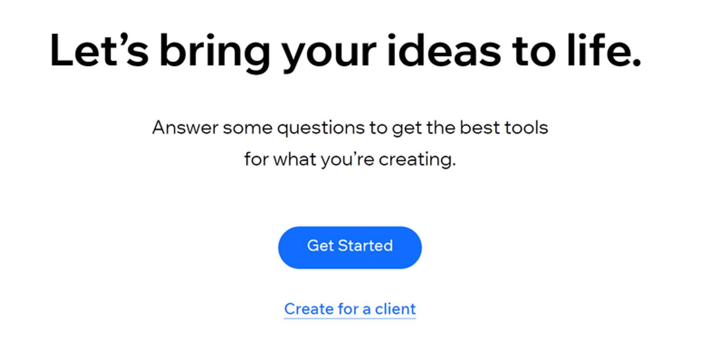 Il quiz iniziale per il costruttore di siti Wix.