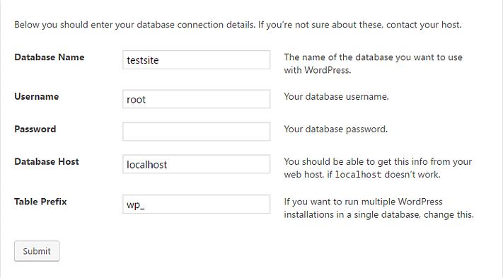 database settings when you install WordPress locally
