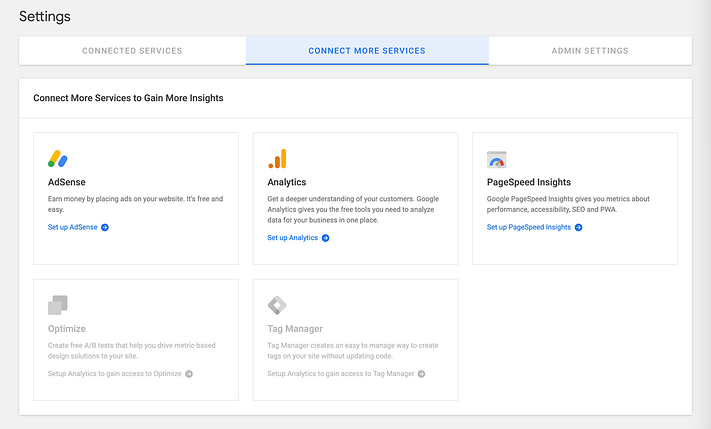 The Google Sit Kit Connect More Services setting.