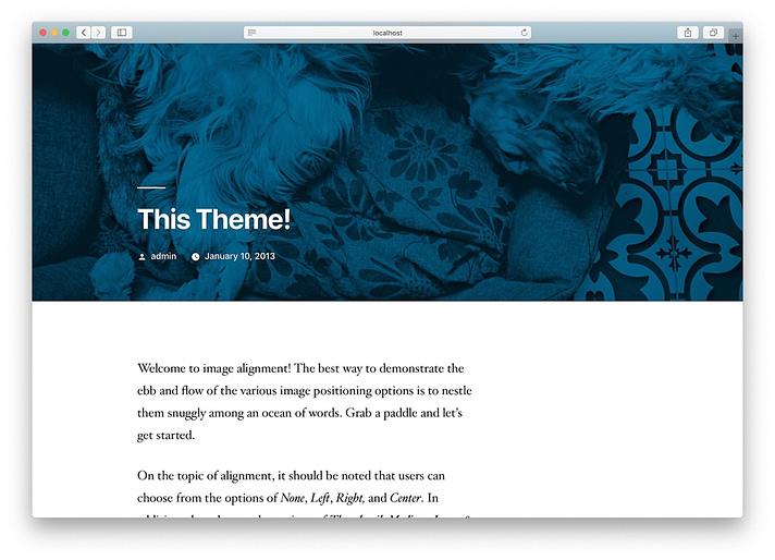 new WordPress site installed on XAMPP