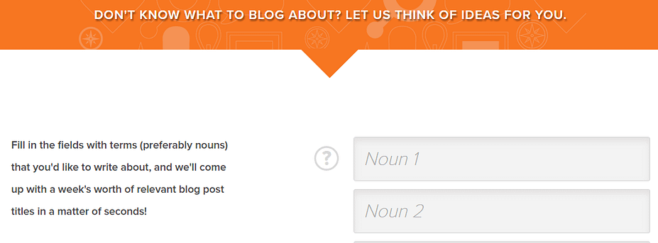 A screenshot of HubSpot's Blog Topic Generator.