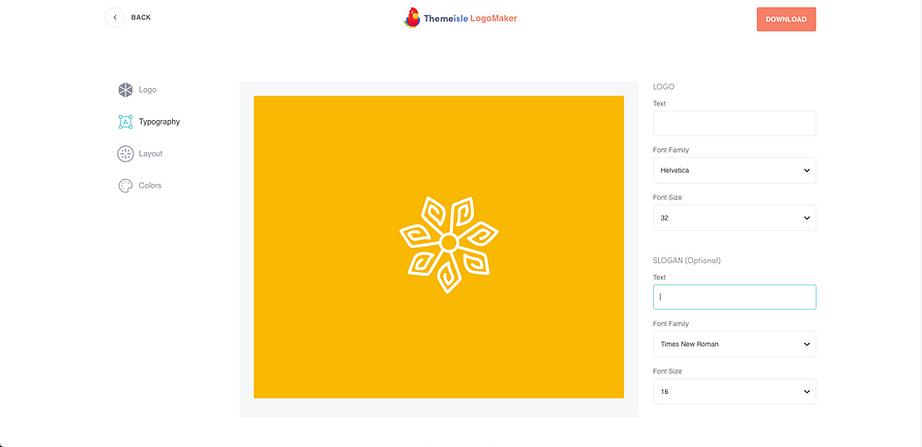 Themeisle Logo Maker design options