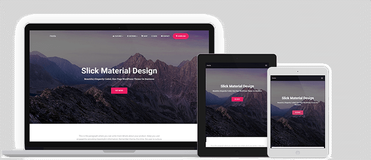 Hestia material design theme - great for a personal WordPress blog