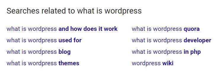 Búsquedas relacionadas en Google.