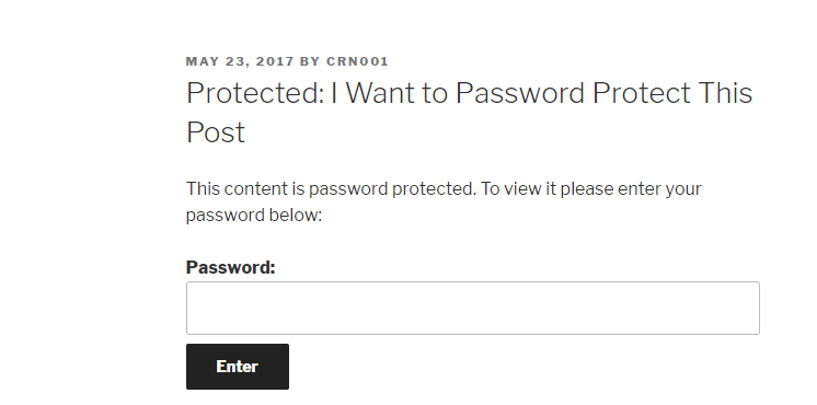what password protected post looks like