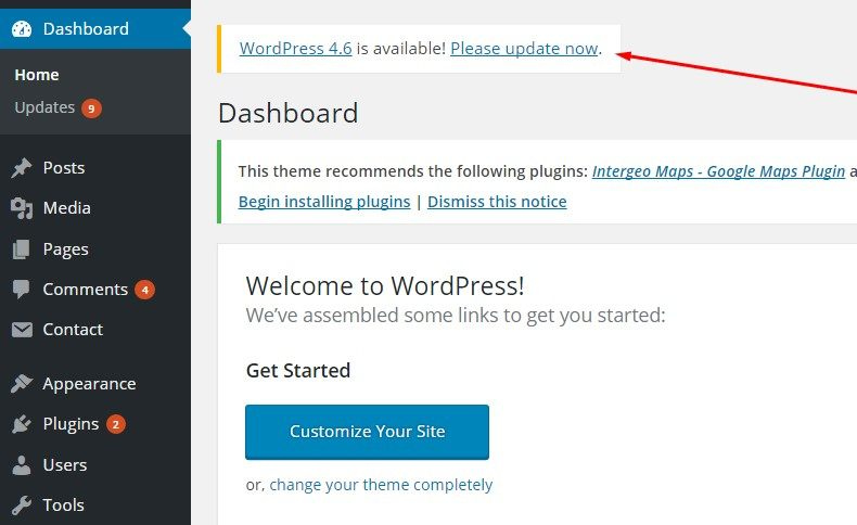 WordPress security tips: Update WordPress